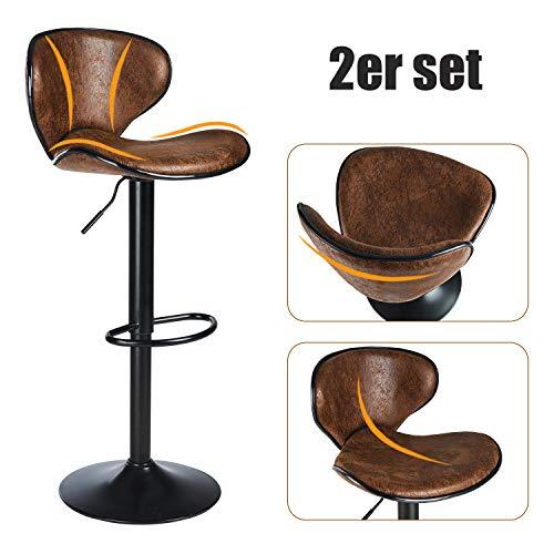 DICTAC Barhocker 2er Set höhenverstellbare Barstühle 360° Drehstuhl Bistrohocker mit Rückenlehne Barstuhl für Hausbar Einfache und schnelle Montage (Schokolade-B)