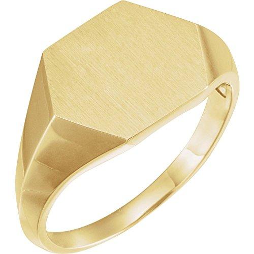 Anillo de oro amarillo de 14 quilates para hombre de 14 mm con sello geométrico, tamaño V 1/2 joyería regalos para hombres