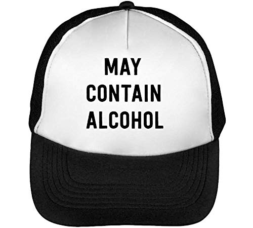 May Contain Alcohol Heren Snapback Beisbol Zwart Wit