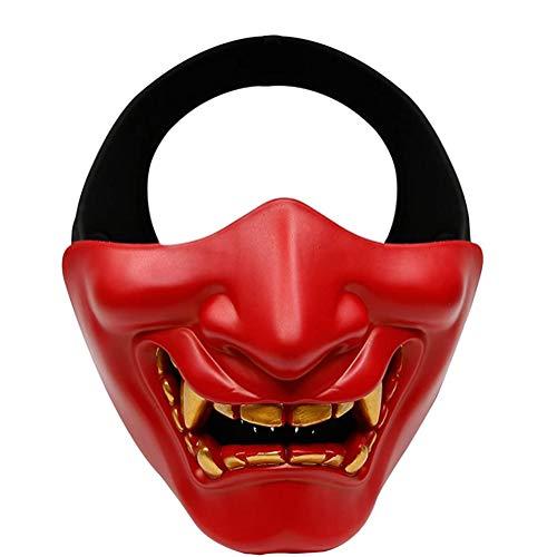 ACEWD Halloween Requisiten Dekorationen, Horror Maske Karneval Scary Ghost Tsushima Halloween Cosplay Halbgesichtsmaske Spielcharakter Ghost Face Mask Kostüm Zubehör Prop Halloween Party Masken,Rot