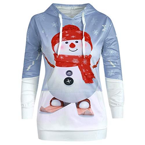 Alwayswin Frauen Schneemann Print Pullover mit Kapuze Weihnachten Kapuzenpullover Beiläufige Hoodie Big Pocket Cartoon Langarm Sweatshirt Top Tuniken Blusen Oberteil