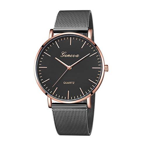 HBR Reloj Señoras Reloj de Cuarzo aleación clásico Ocasional de la Correa de la Manera Simple de Mujer de Cuarzo Accesorios de Moda (Color : Black Gold)