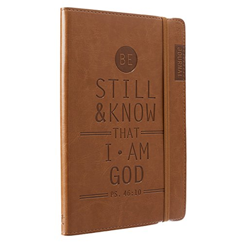 Christian Art Gifts Tan Faux Leather Journal   Be Still and Know - Psalm 46:10   Flexcover Inspirational Notebook w/Elastic Closure 160 Lined Pages w/Scripture, 5.8 x 8.5 Inches