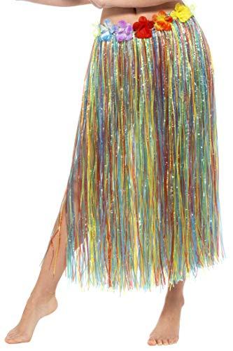 Smiffy's-44591 Falda de Paja Hawaiana con Flores, con Cierre con Velcro y Cintura a, Multicolor, Tamaño único (44591)