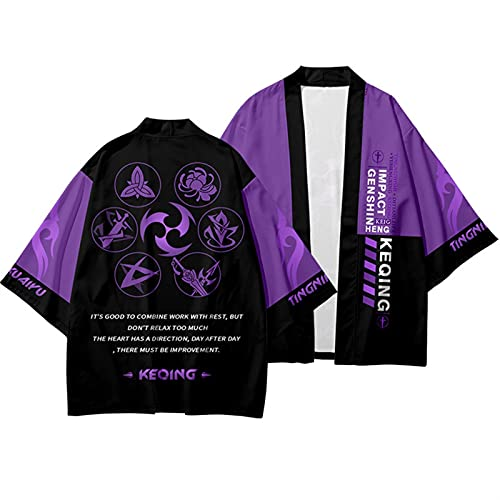 YYCHER Genshin Impact Cosplay Keqing Cárdigan estilo japonés Kimono Harajuku Mujeres Hombres Sexy Yukata Tradicional Haori (Color: 2, Talla: L)