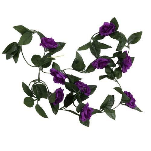 FS 8ft Artificial Purple Rose Flower Garland - Wedding Trellis Garden