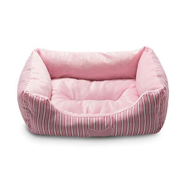 Hollypet Self-Warming Pet Bed Small Medium Dog Cat Plush Rectangle Nest Puppy Sleeping Bag Cushion Pink