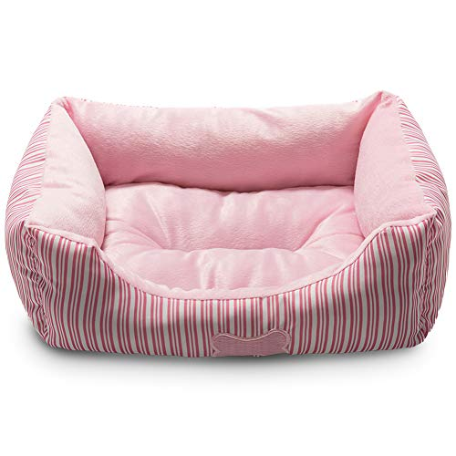 Hollypet TC Fabric Plush Small Dog Cat Bed Self-Warming Pet Bed, Pink
