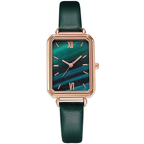 DSJMUY Relojes de cuero para mujer para vestido de lujo analógico de cuarzo delgado resistente al agua, esfera texturizada de malaquita verde