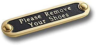 Please Remove Your Shoes Brass Door Sign. Traditional Style Home Décor Wall Plaque Handmade by The Metal Foundry UK.