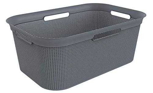 Rotho Brisen Wäschekorb 40l mit 4 Griffen, Kunststoff (PP) BPA-frei, anthrazit, 40l (59,6 x 39,6 x 23,2 cm)