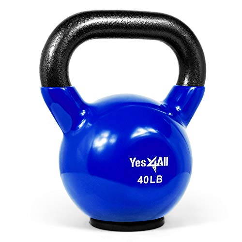 Yes4All Vinyl Coated Kettlebells – Weight Available: 5, 10, 15, 20, 25, 30, 35, 40, 45, 50 lbs (T. 40lbs - Rubber Base - Blue)