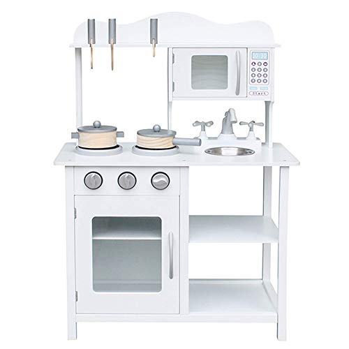 Play Kitchen for Toddlers – Wooden Kitchen Toys Playset – Pretend Play White Cooking Set with Accessories – Includes Sink, Oven, Microwave – and Durable – Easy Assembly