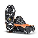 Yesloo Crampones para zapatos con 24 dientes de acero inoxidable y banda de silicona antideslizante sobre hielo y nieve, para senderismo, botas de montaña, etc.
