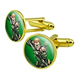 GRAPHICS & MORE Justice League Green Arrow Character Round Cufflink Set Gold Color