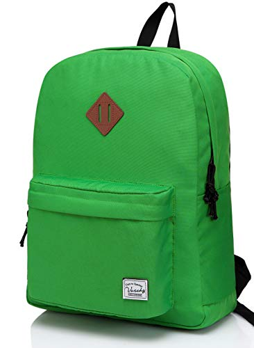 Lightweight Backpack for School, VASCHY Classic Basic Water Resistant Casual Daypack for Travel with Bottle Side Pockets (Green)