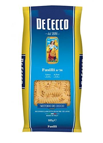 10x De Cecco Fusilli No. 34 Italian Pasta 500g