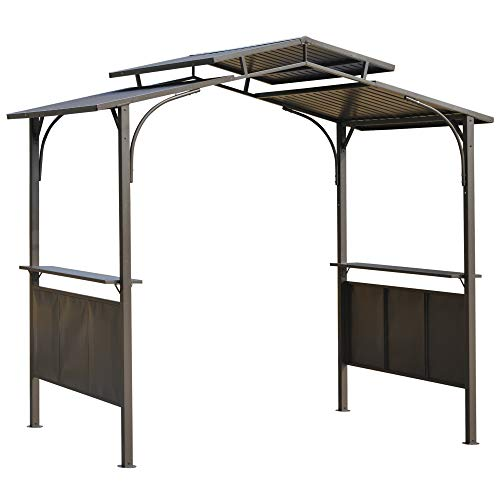 Outsunny 8'x5' BBQ Grill Gazebo with 2 Side Shelves, Outdoor Double Tiered Interlaced Polycarbonate Roof with Steel Frame, Brown