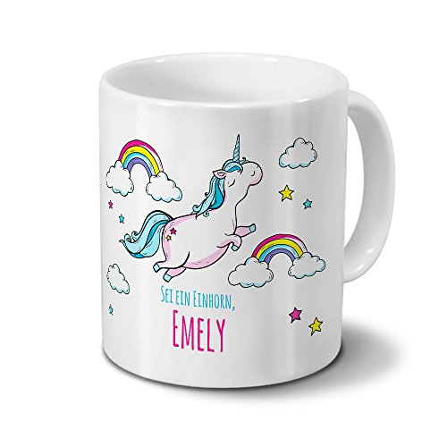 Tasse mit Namen Emely - Motiv Dickes Einhorn - Namenstasse, Kaffeebecher, Mug, Becher, Kaffeetasse - Farbe Weiß
