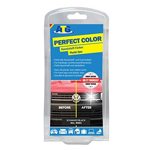 ATG Colorante Plastica Perfect-Color Nero - dà Vita a paraurti e modanature e riporta la brillantezza - Funziona per Ogni Auto e Moto, ATG047