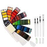 BBLIKE Acuarelas, Set de Pintura de Acuarela sólida,42 Colores Caja de Almacenamiento del Sector con 4 Pincel de Pintura de Agua Pigmento de Acuarelas portatiles para artículos de Arte