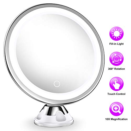 MTORED 10x Magnifying Lighted Makeup Mirror with 360° Rotation, Touch Sensor Control, Natural Daylight LED Light, Powerful Locking Suction Cup, Cosmetic Mirror for Home, Bathroom, Vanity and Travel