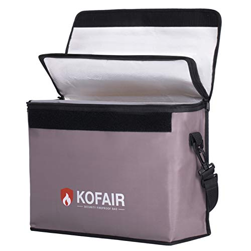 KOFAIR Large Fireproof Bag (16 x 12 x 5.5 inches), XL Fireproof Document Bags with 100% Opening &...