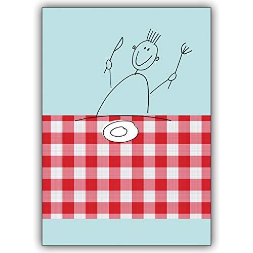 4 Einladungskarten Fröhliche, illustrierte Einladungs Klappkarte zum Essen • schöne Gruss Klappkarten Set mit Umschlägen innen blanko für liebe Worte
