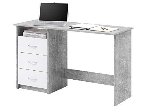 möbelando Schreibtisch Computertisch Arbeitstisch Bürotisch Laptoptisch Büromöbel Mack I Beton/Weiß