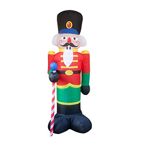 Hete-supply 2.4m Inflatable Christmas Santa Claus Soldier, 8ft Nutcracker Soldier, Christmas Inflatable Doll, With LED Light Christmas Decoration For Outdoor Yard Garden