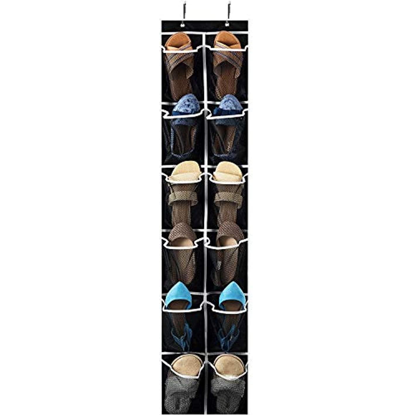 """Over the Door Shoe Organizer 2 Pack - 12 Mesh Pockets, Space Saving Hanging Shoe Holder for Maximizing Shoe Storage, Accessories, Toiletries, Etc. No Assembly Required, Organizer for Shoes 57?"""" x 12"""" ygktvg3772255"""
