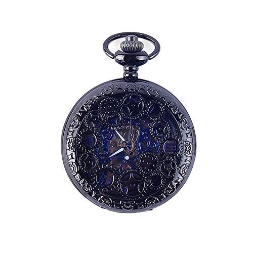 HYY-YY. Taschen-Uhr-Herren-Taschenuhr mit Kette, hohler Unisex Roman Skala Retro mechanische Taschen-Uhr (Farbe: Schwarz, Größe: Eine Größe) (Color : Black, Size : One Size)