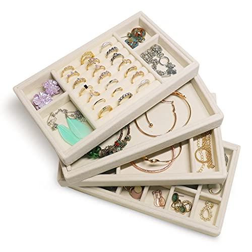 Organizador Pulseras 4 cajones, organizador de joyería para aretes brazalete pulsera collar y anillos almacenamiento caja de joyería titular de pendiente (blanco lechoso)