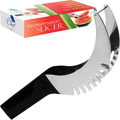 Watermelon Slicer Cutter Corer & Server - Multipurpose All In One Stainless Steel Knife Melon & Fruit Carving Slice Comfortable Rubber Handle Corer Tongs & Dicer Best Kitchen Gifts Tool Chuzy Chef
