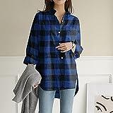 A-HXTM Camisa Blusa de Primavera Mujer Manga Larga Impreso Tops de Oficina Blusa Larga Camisas Femeninas Tallas Grandes se aplican al Trabajo Negocios o Uso Diario etc.-Stye_B-Blue_XXXL
