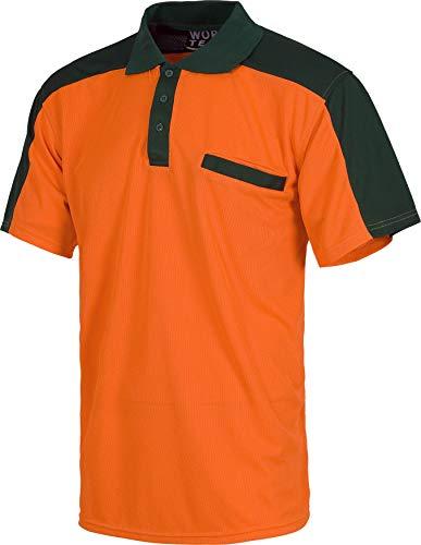 WorkTeam Polo Combinado de Alta Visibilidad Manga Corta con un Bolso de Pecho. Hombre Verde+Naranja A.V. L