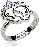 Anillo de pie de bebé tallado MSYOU de plata de ley 925 con joyas de piedra de nacimiento, adecuado para el anillo de madre primeriza Plata de ley 925 10 Plata
