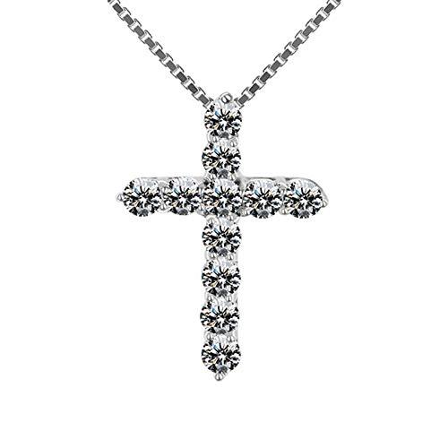 BJGCWY Collar con Colgante de Cruz Grande para Mujer, Collar de Boda para Mujer, Collar de Piedra de circonita de Color Plateado