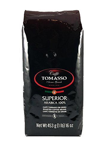 Caffe Tomasso Aroma Grande, Superior Blend, Medium Roast, 100% Arabica Whole Beans Coffee Imported from Portugal, 16 Ounce Bag