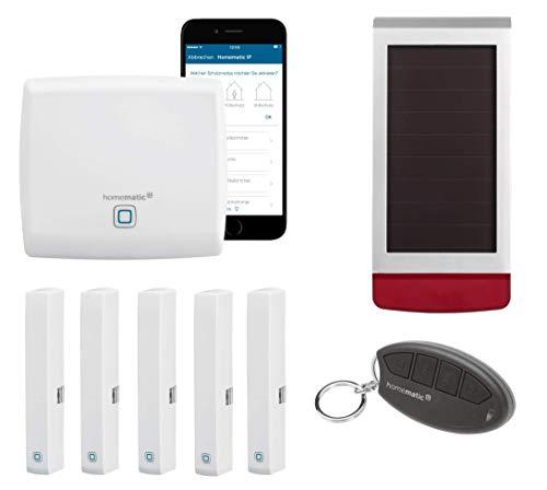 Homematic IP Set Sicherheit - Alarmanlage für Haus und Wohnung mit Smart Home Außensirene, Tür-Fenster-Kontakten und Fernbedienung. Mit App und Alexa kompatibel.
