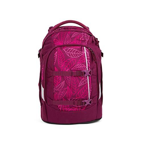 satch Pack Purple Leaves, ergonomischer Schulrucksack, 30 Liter, Organisationstalent, Lila