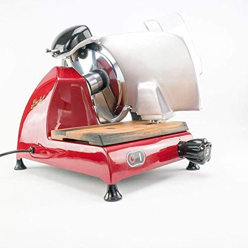 Palatina Werkstat ® Berkel Red Line 220 | Profi-Aufschnittmaschine/Allesschneider mit integriertem Schleifapparat | rot | + Schneidebrett aus Fassholz | VK: 1070,- €