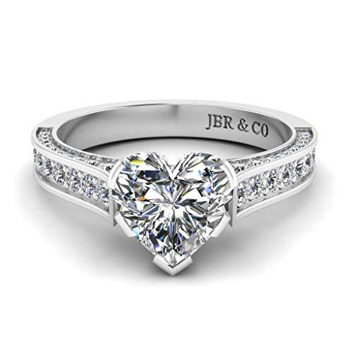 Jbr - Anillo clásico de plata de ley con diamante blanco para novia, anillo de compromiso de aniversario con caja de regalo