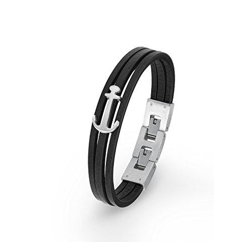 S.Oliver Kinder Armband Jungen mit Anker-Anhänger Leder Edelstahl 16,5+1,5 cm schwarz