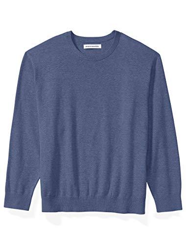 Amazon Essentials Men's Big & Tall Crewneck Sweater fit by DXL, Indigo Heather, 5X Tall