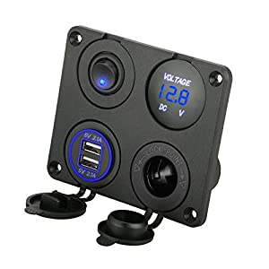 Linkstyle 4 in 1 Charger Socket Panel, 12V 4.2A Dual USB Charger Socket Power Outlet & LED Voltmeter & Cigarette Lighter Socket & LED Lighted ON Off Rocker Toggle Switch for Car Marine Boat RV Truck