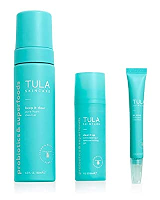 TULA Probiotic Skin Care Goodbye Breakouts Level 2 Acne-Fighting Routine Kit | Clear Up Acne, Targets Breakouts & Prevents Future Acne, Contains Salicylic Acid and Probiotics | 3-Step Kit