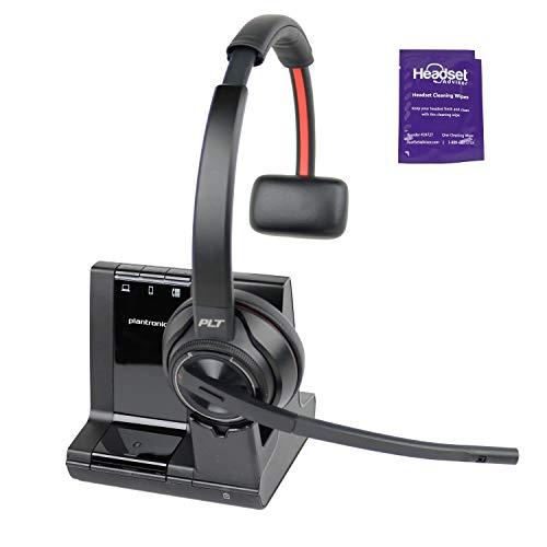 Plantronics Savi 8210 - Sistema de auriculares DECT inalámbricos con toallita para auriculares, compatible con PC, teléfono móvil y teléfono de escritorio