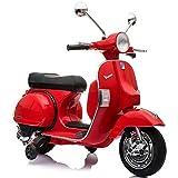 Moto Scooter Elettrico per Bambini Ufficiale Piaggio Vespa PX 150 12V con Rotelle Sella in Pelle Ingr Mp3 Luci LED Suoni (Rosso)