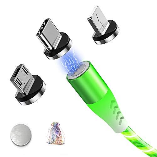 Cable Magnetico 3 en 1 Micro USB Tipo C Lighting Carga Rápida con LED de Luz Que Fluye y Datos Sincronización Cables para Samsung Galaxy S7 S8 S9 S10,Huawei P10 P20,i-product-6 11 XR,Xiaomi,y más